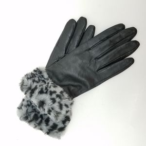 MERONA Black Leather Gloves with Faux Fu@